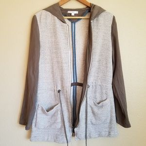 drew andria hooded zip up french terry jacket sz m